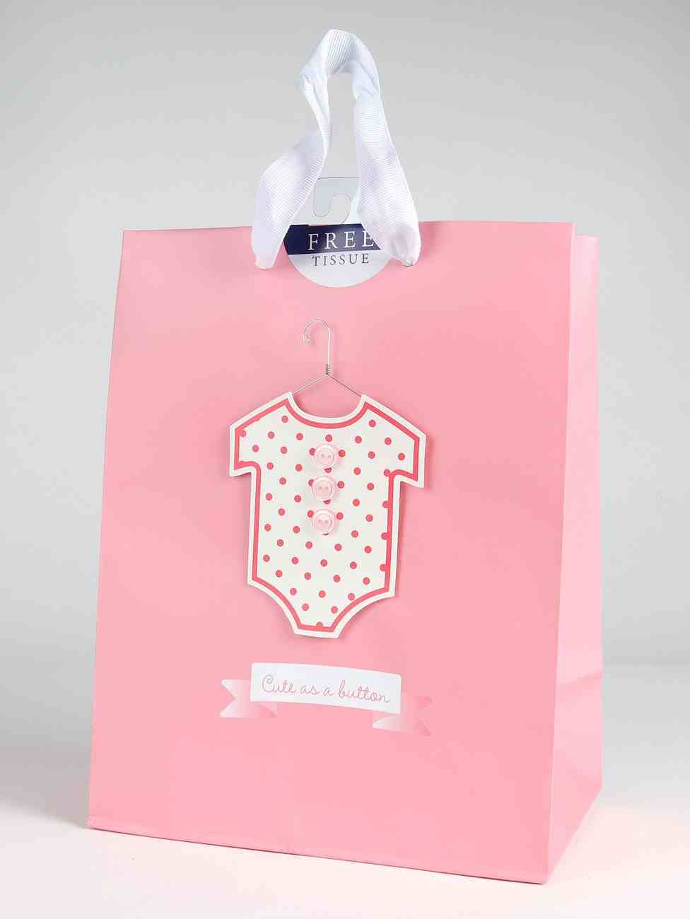 Gift Bag Medium: Baby Pink Polka Dot (Incl Two Sheets Tissue Paper & Gift Tag) Stationery