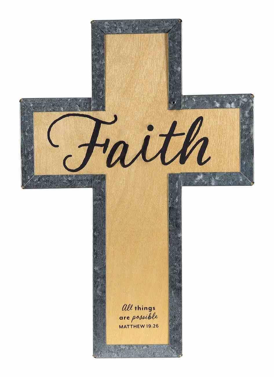 Wood Metal Wrap Cross: Faith (Matthew 19:26) Plaque