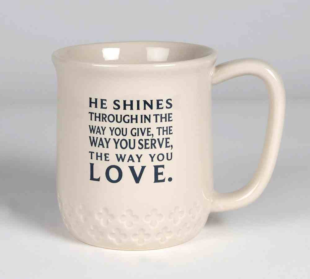 Ceramic Mug: He Shines, Cream & Navy Writing Homeware