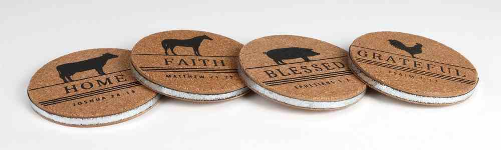 Coasters Cork and Metal, Round (Set of 4) (Farm & Ranch Series) Homeware
