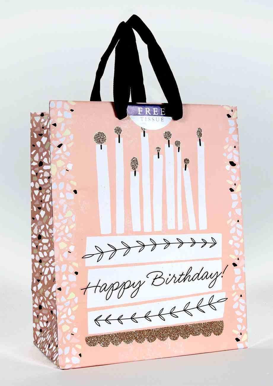 Gift Bag Medium: Happy Birthday, Cake (Psalm 118:24 Mssg) Stationery