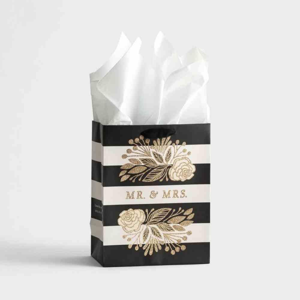 Gift Bag Medium: Mr & Mrs Monochrome Stripe (Sos 3:4 Niv) Stationery