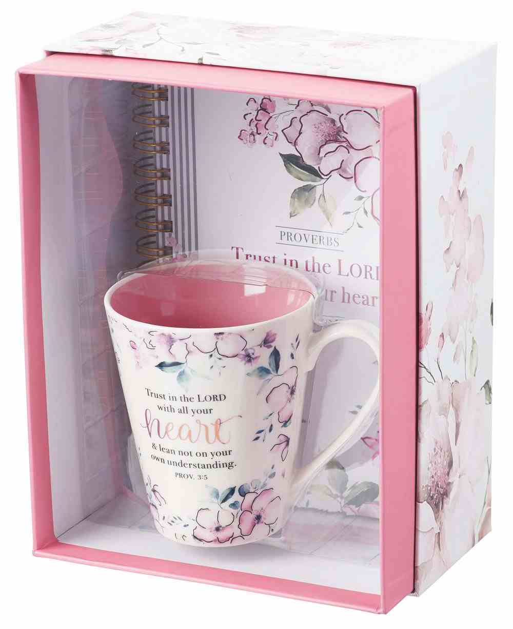 Boxed Gift Set: Trust in the Lord, Journal and Mug, Pink Florall Pack
