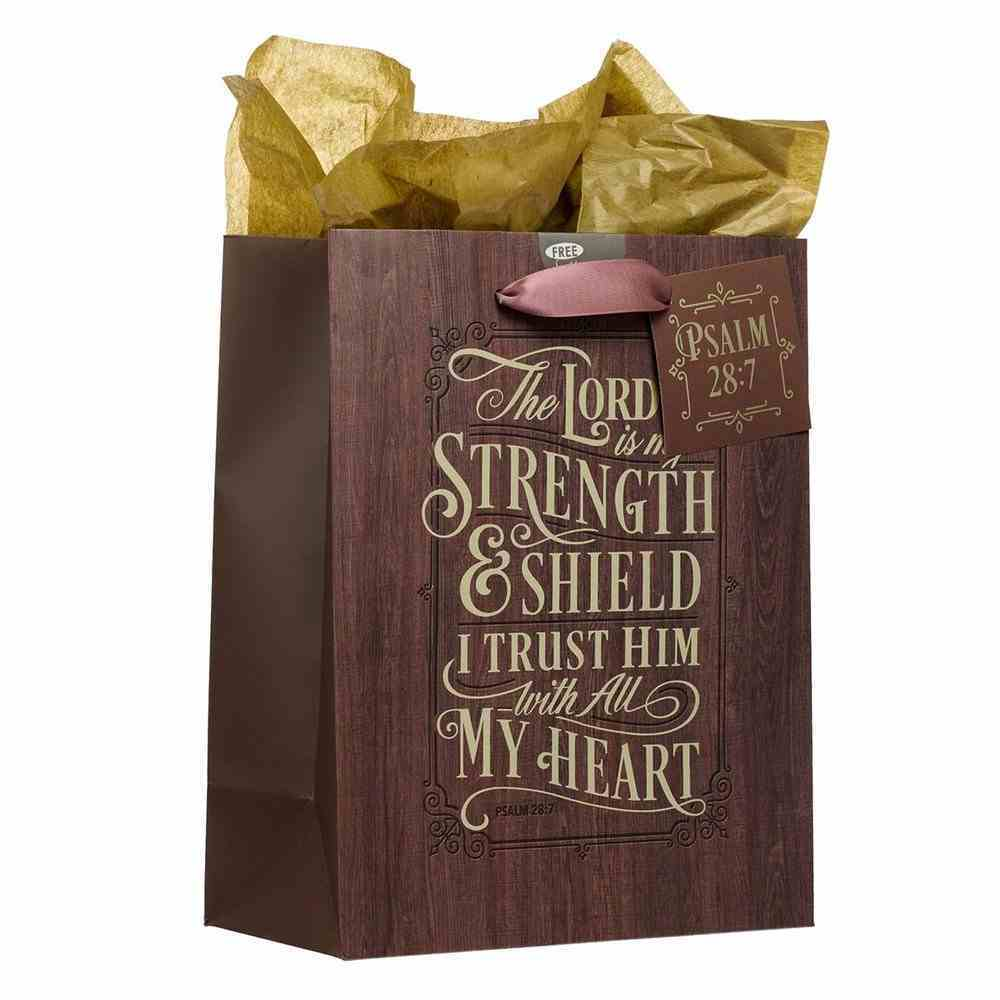 Gift Bag Medium: The Lord is My Strength Brown (Psalm 28:7) Stationery