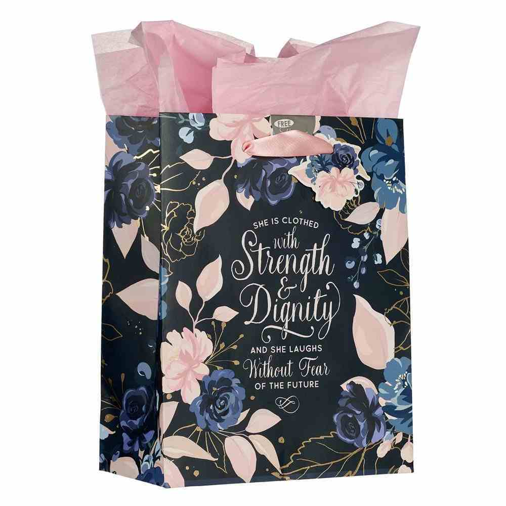 Gift Bag Medium: She is Clothed With Strength Navy/Pink (Prov 31:25) Stationery