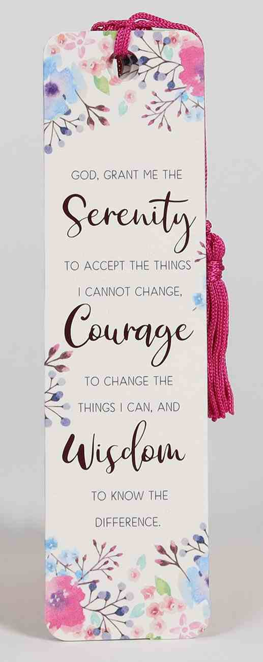 Bookmark With Tassel: Serenity Prayer, Bright Pink Floral Stationery