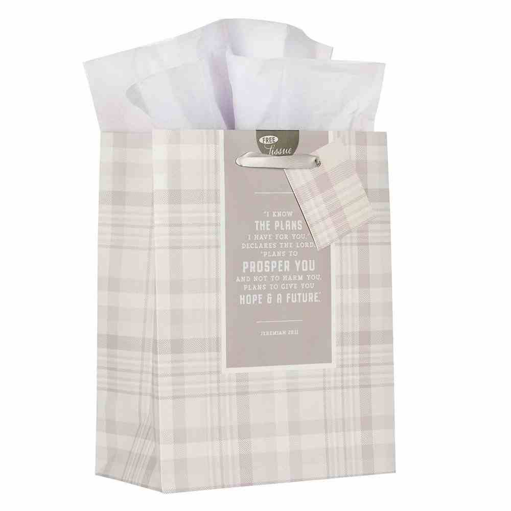 Gift Bag Medium: I Know the Plans Grey/White Plaid (Jer 29:11) Stationery
