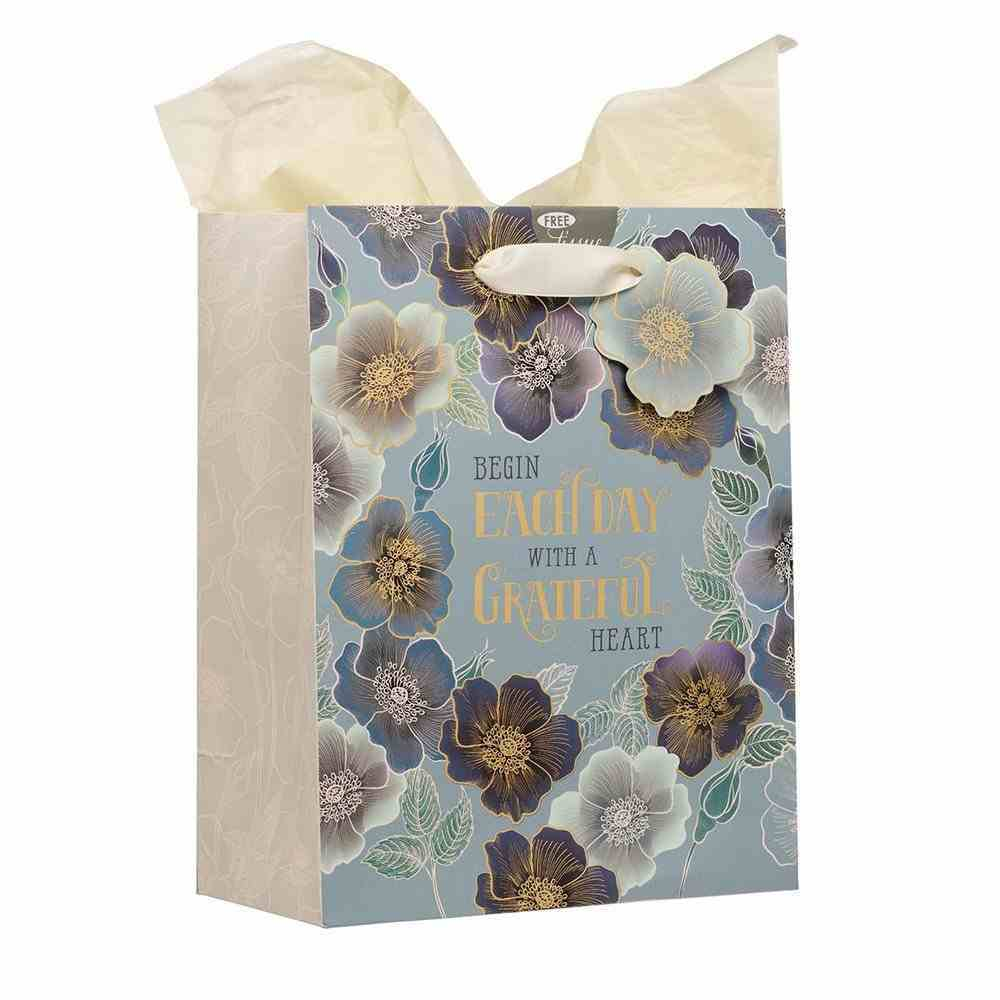 Gift Bag Medium: Begin Each Day With a Grateful Heart, Blue Floral Stationery