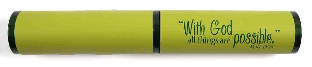 Stylish Pen/Case Gift Set: With God All Things Are Possible, Green Stationery