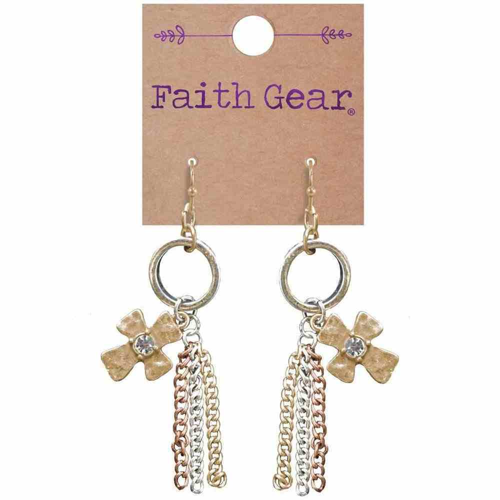 Women's Faith Gear Earrings: Tassel Crosses, (Brushed Gold/rose Gold/antique Silver) Jewellery