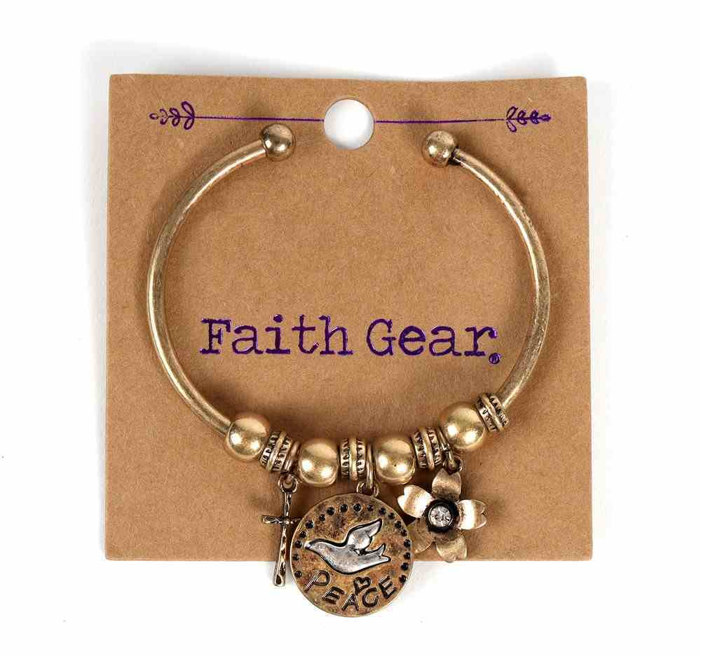 Women's Faith Gear Open-Sided Bangle: Peace, Dove (Gold/aged Silver) Jewellery