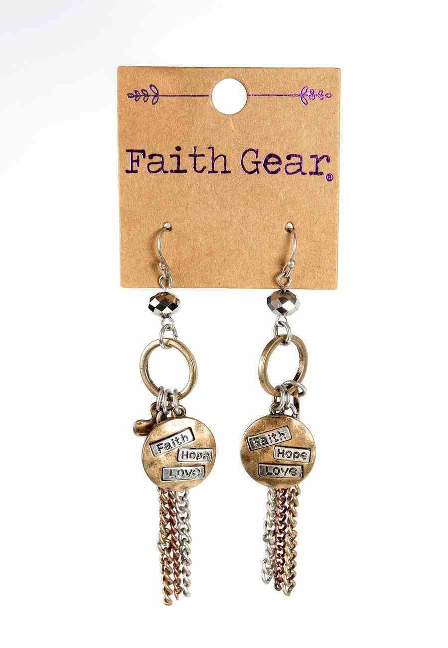 Women's Faith Gear Earrings: Faith, Hope, Love (Brused Gold/rose Gold/antique Silver) Jewellery