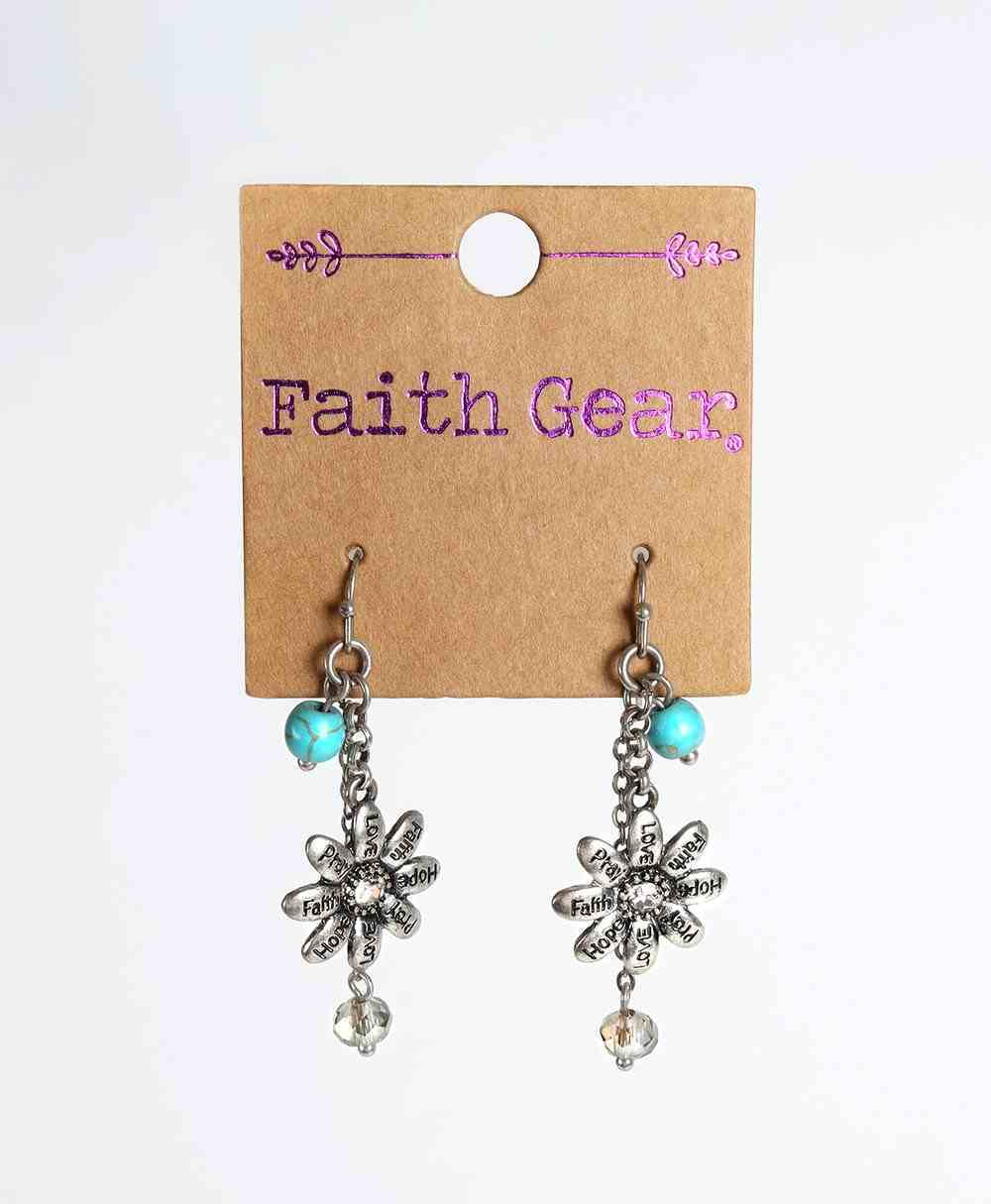 Women's Faith Gear Earrings: Flowers, (Aged Silver/turquoise Beads) Jewellery