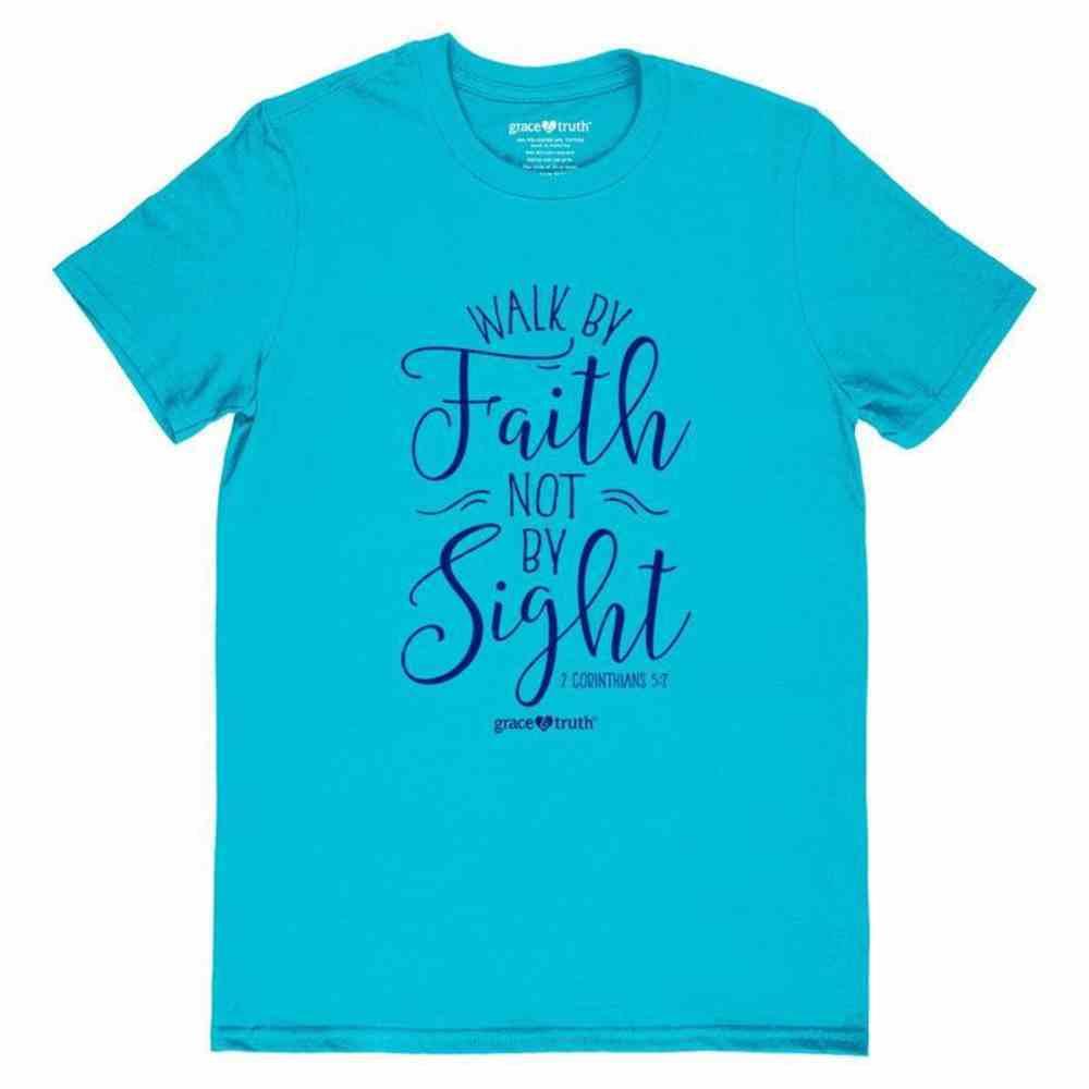 Walk By Faith, Medium, Blue (2 Corinthians 5: 7) (Grace & Truth Womens T-shirts Series) Soft Goods