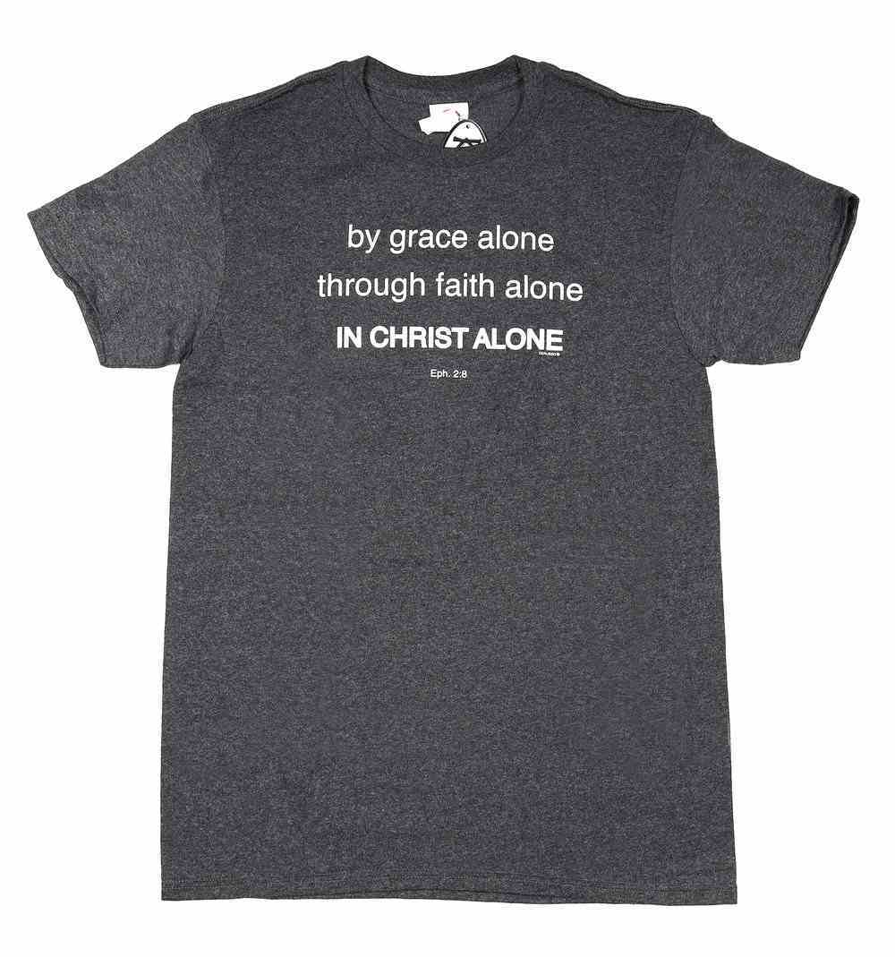 T-Shirt: By Grace Alone, Through Faith Alone, Small, Round Neck, Charcoal Heather, Eph 2:8 Soft Goods