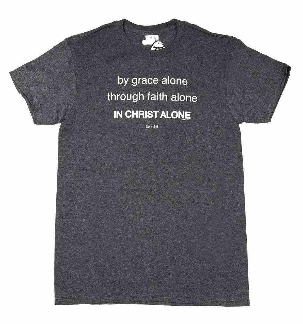 T-Shirt: By Grace Alone, Through Faith Alone, Medium, Round Neck, Charcoel Heather, Eph 2:8 Soft Goods