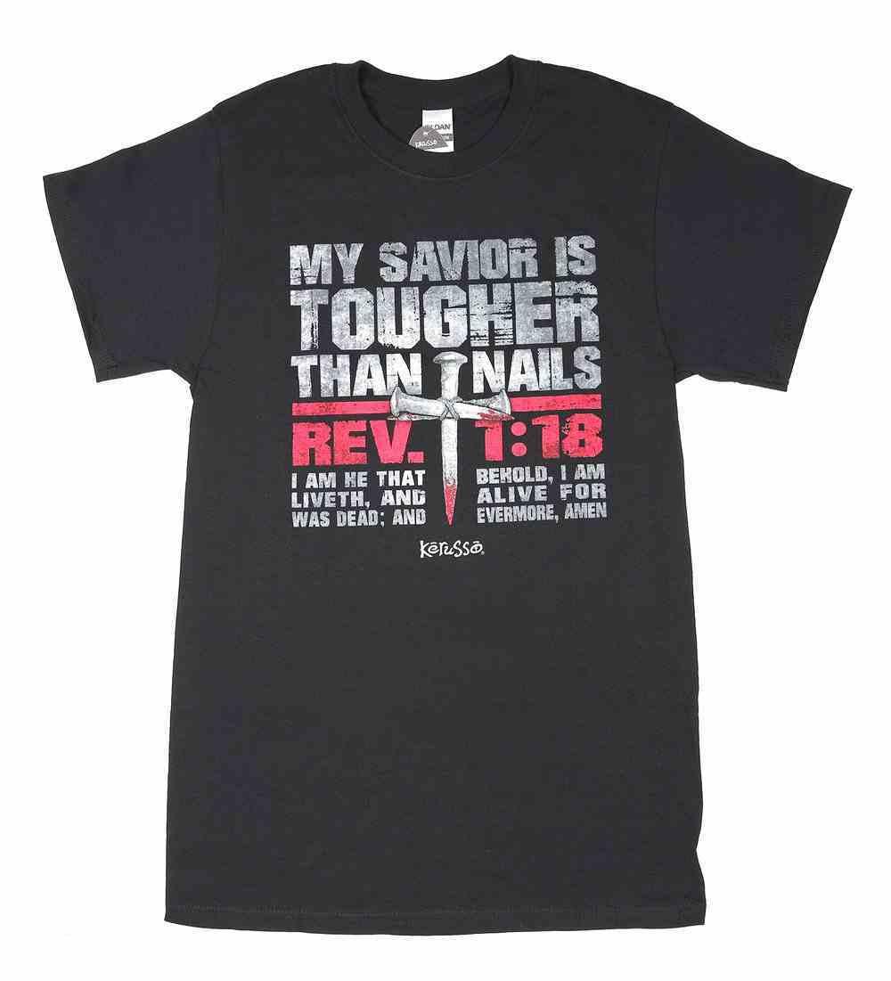 T-Shirt: My Savior is Tougher Than Nails, Large, Round Neck, Black, Rev 1:18 Soft Goods
