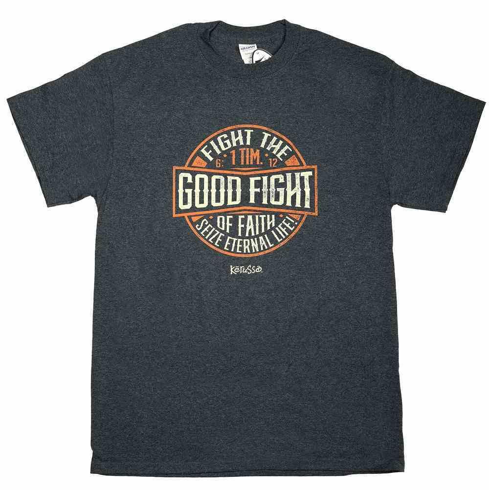T-Shirt: Fight the Good Fight, Medium, Round Neck, Dark Heather, 1 Tim 6:12 Soft Goods