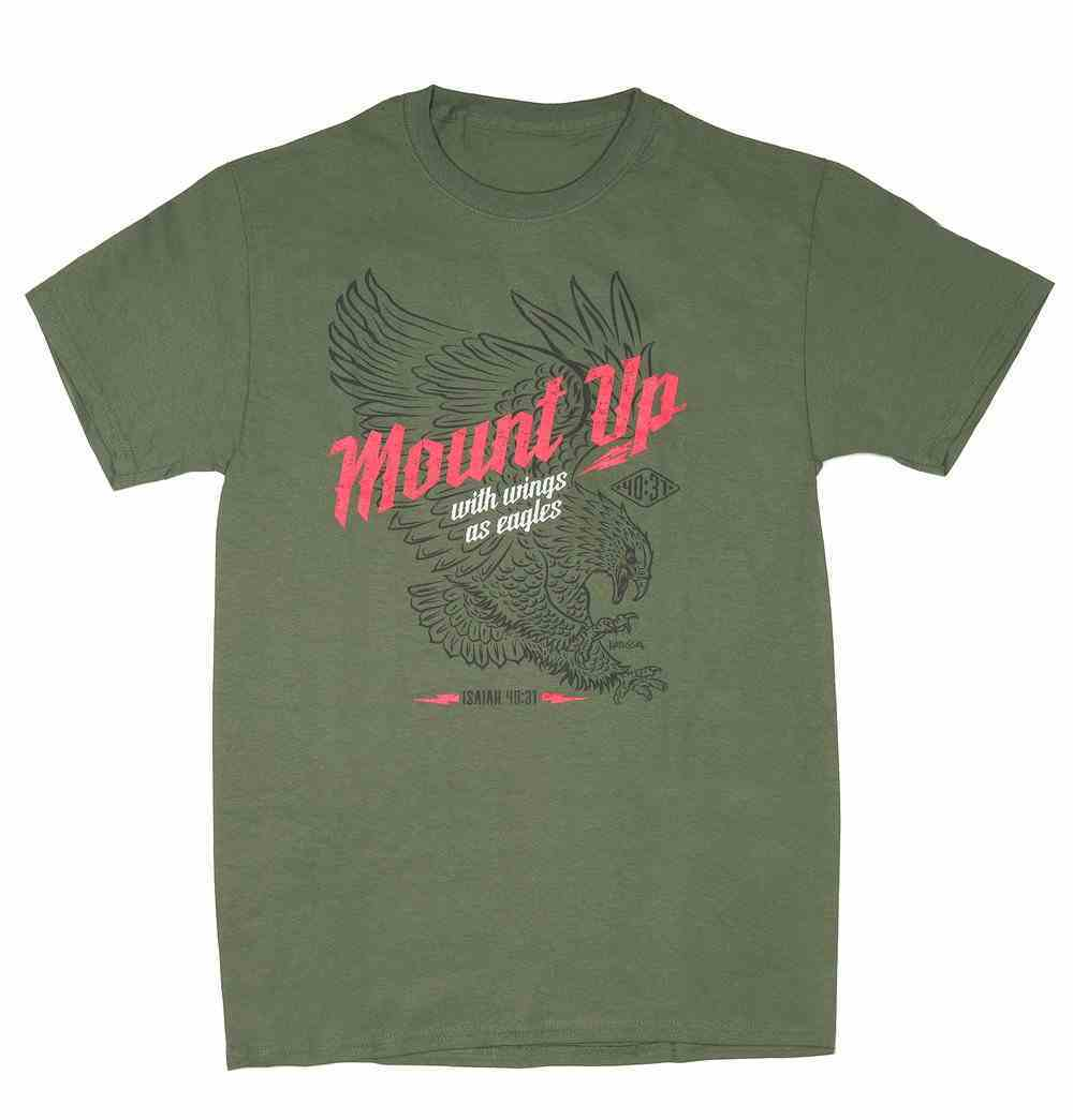 T-Shirt: Mount Up With Wings as Eagles, 2xlarge, Round Neck, Military Green, Is. 40:31 Soft Goods