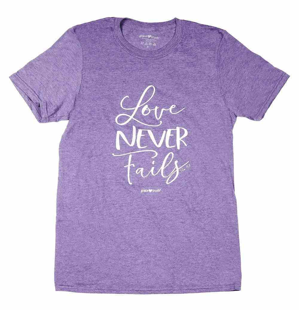 Love Never Fails, Xlarge, Round Neck, Heather Purple, 1 Cor 13: 8 (Grace & Truth Womens T-shirts Series) Soft Goods