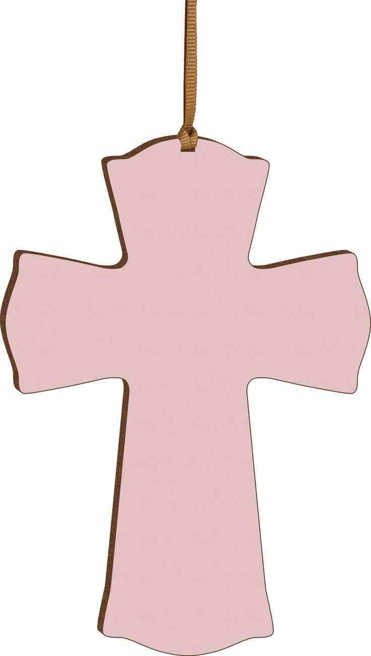 Cross: Mini, Pink With Ribbon Hanger (Hdf) Plaque