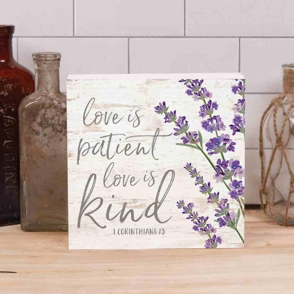 Tabetop Decor: Love is Patient Love is Kind (1 Cor 13) Purple Flowers (Pine) Plaque