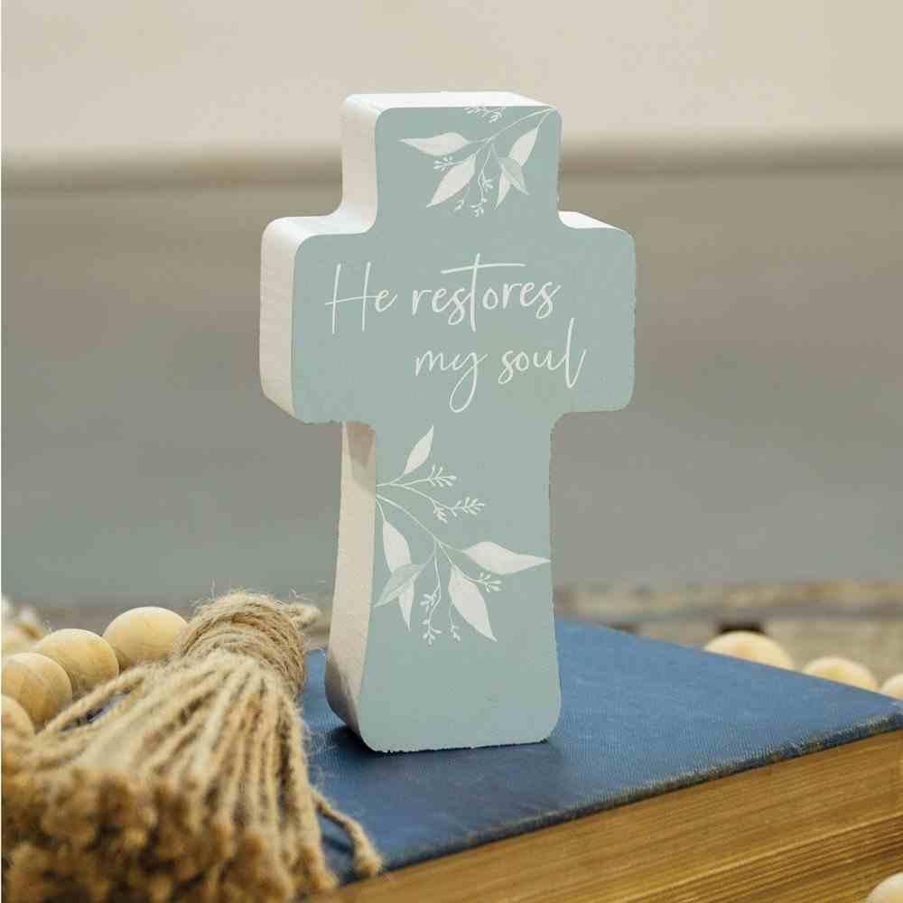 Tabletop Decor: Cross, He Retores My Soul (Pine) Homeware