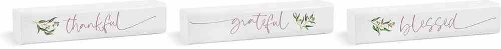Tabletop Decor: Thankful Grateful Blessed (3 Piece Set) White/Branches (Pine) Homeware