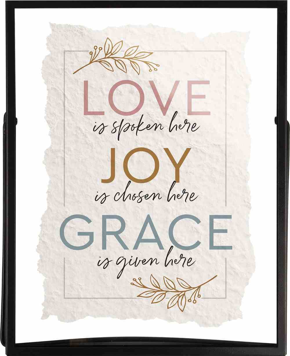 Transparent Glass Sign: Love, Joy, Grace... (Metal Frame) Homeware