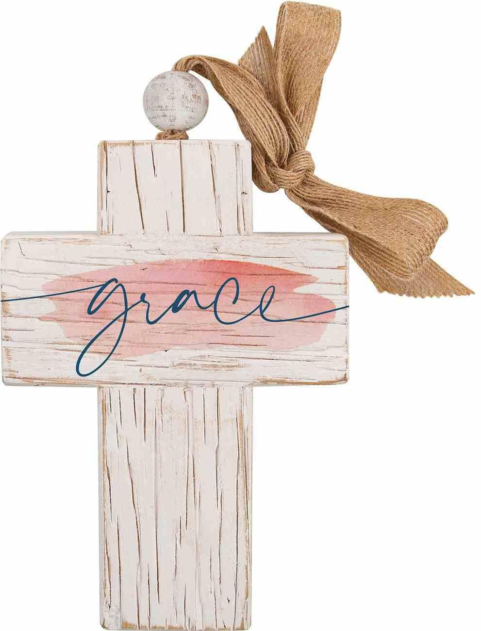 Cross: Grace, Bead and Ribbon For Hanging (Fir, Embossed Elm) Homeware