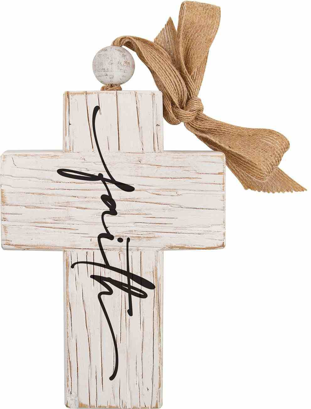 Cross: Faith, Bead and Ribbon For Hanging (Fir, Embossed Elm) Homeware