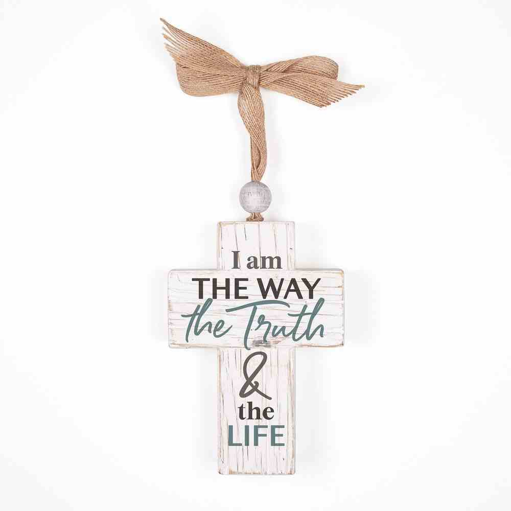 Cross: I Am the Way the Truth & the Life, Bead and Ribbon For Hanging (Fir, Embossed Elm) Homeware