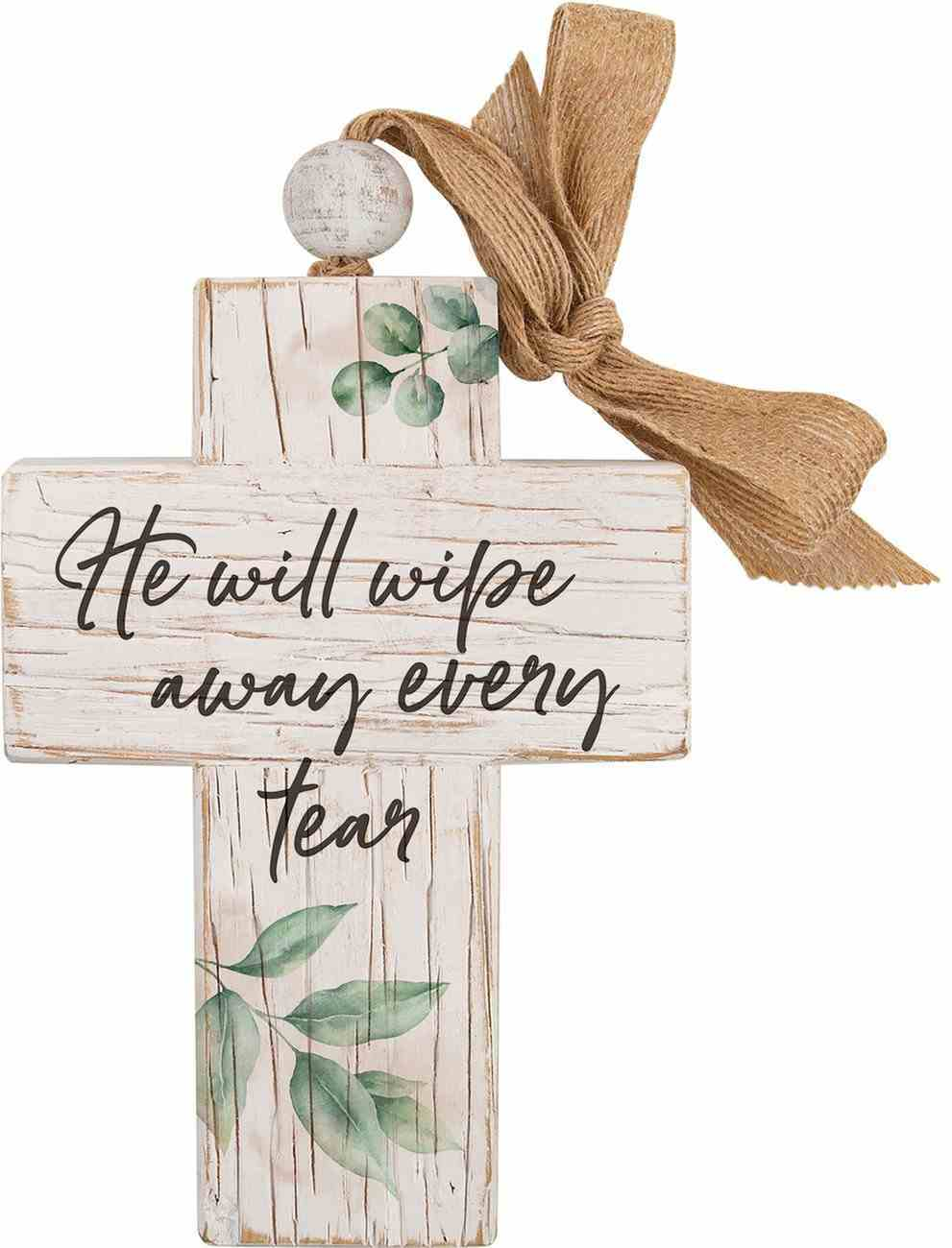 Cross: He Will Wipe Away Every Tear, Leaves, Bead and Ribbon For Hanging (Fir, Embossed Elm) Homeware