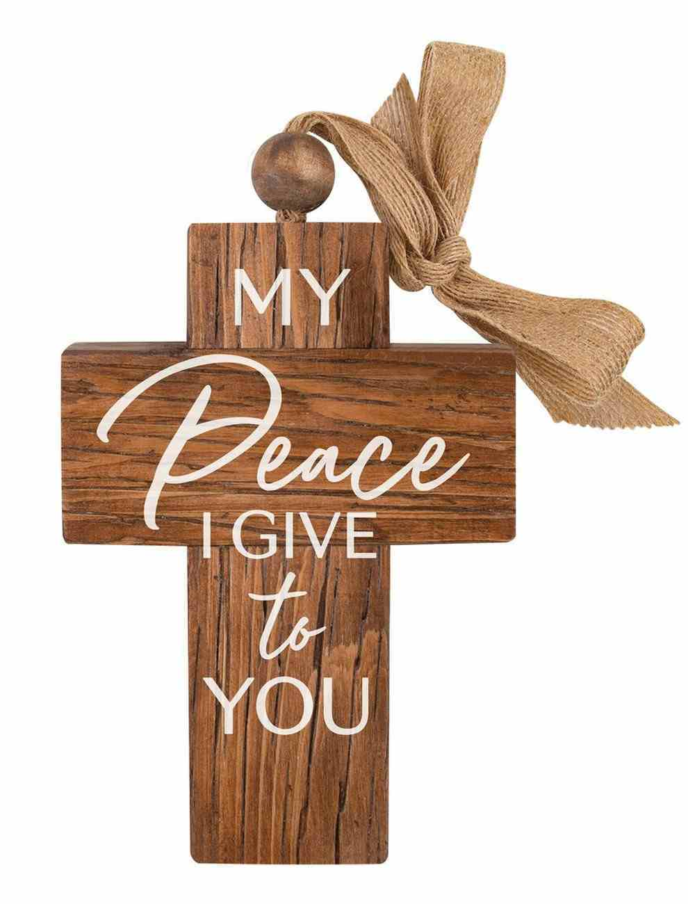Cross: My Peace I Give to You, Bead and Ribbon For Hanging Homeware