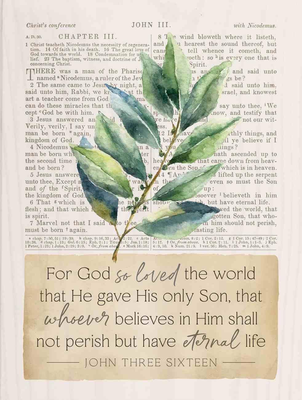 Tabletop Decor : For God So Loved the World (John 3:16) (Pine) (Vintage Praise Series) Homeware