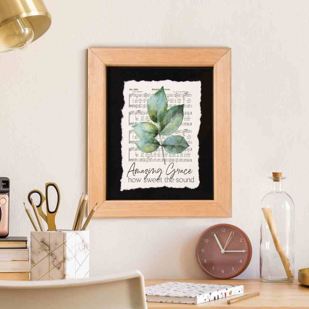 Framed Wall Art: Amazing Grace How Sweet the Sound, Leaf and Sheet Music (Pine/acrylic) Plaque