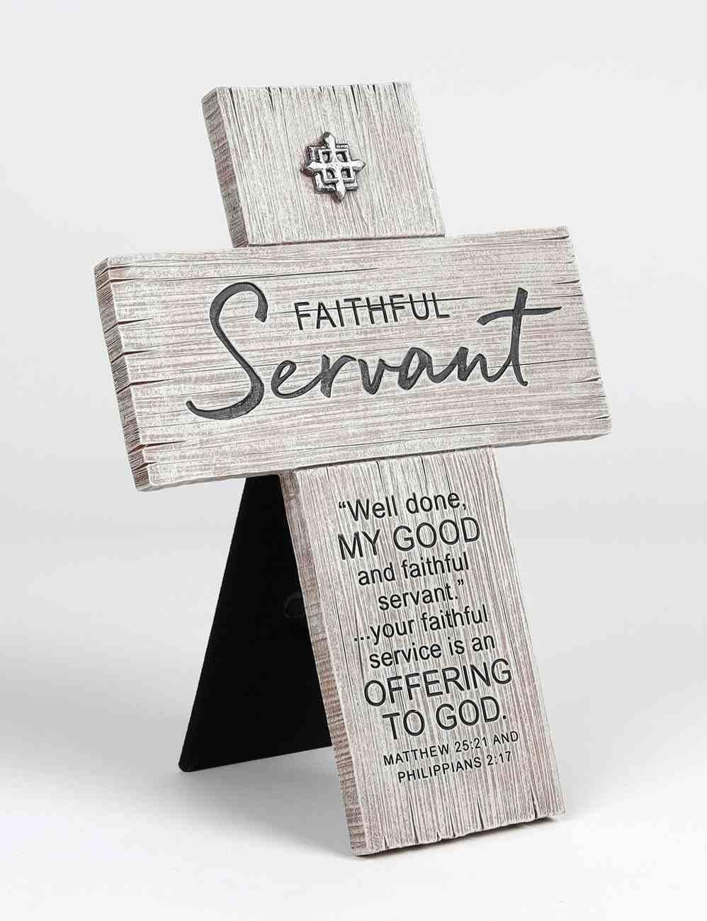 Mdf Wall/Desktop Cross: Faithful Servant, Matthew 25:21 & Philippians 2:17 Plaque