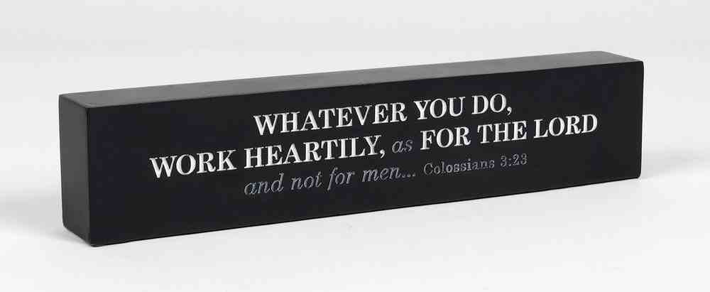 Scripture Bar: Work Unto the Lord, Navy, Cast Stone (Col 3:23) Plaque