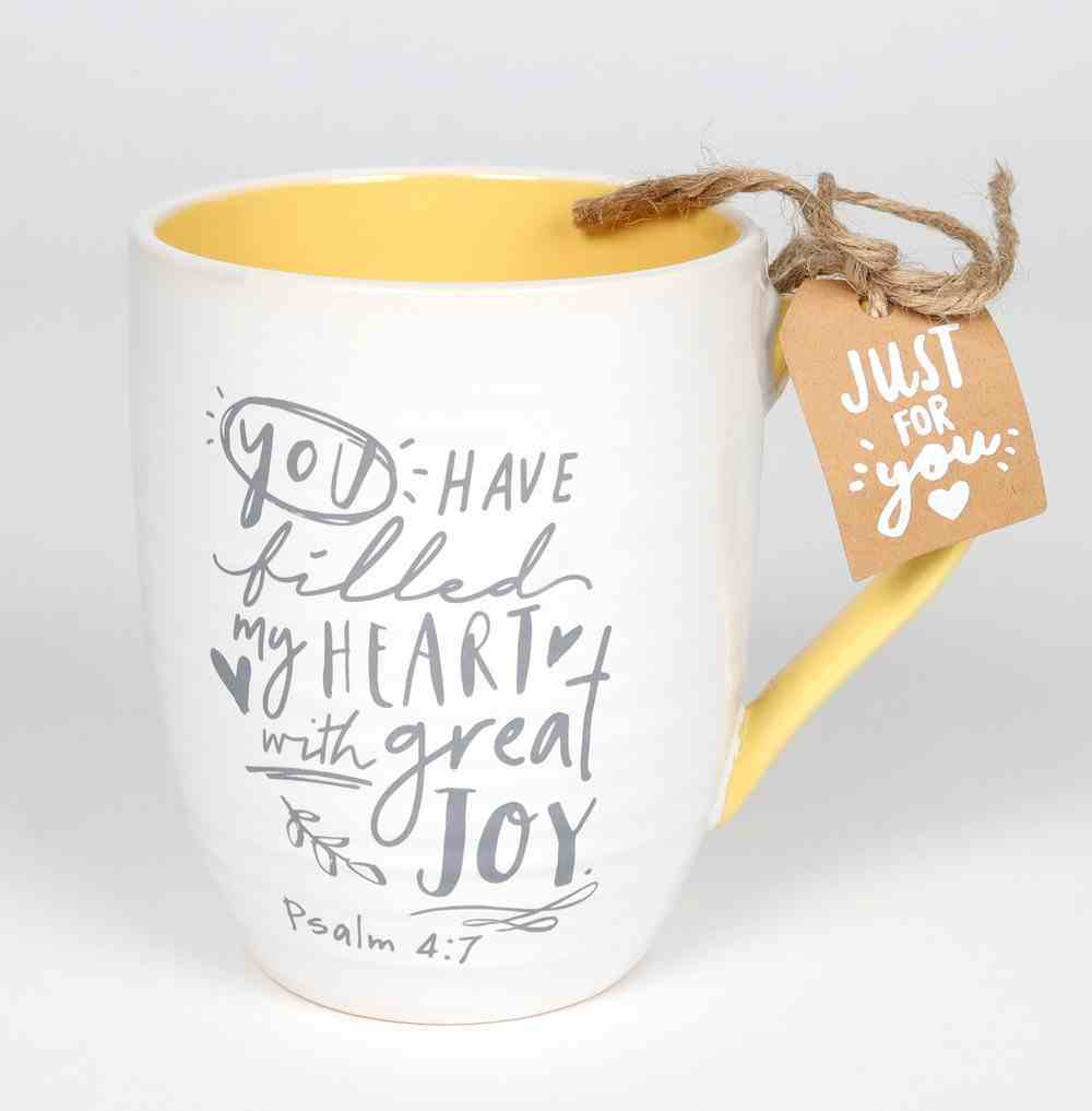Ceramic Mug : Cup of Happy (Psalm 4:7) Yellow (414ml) (Scripture Ink Series) Homeware