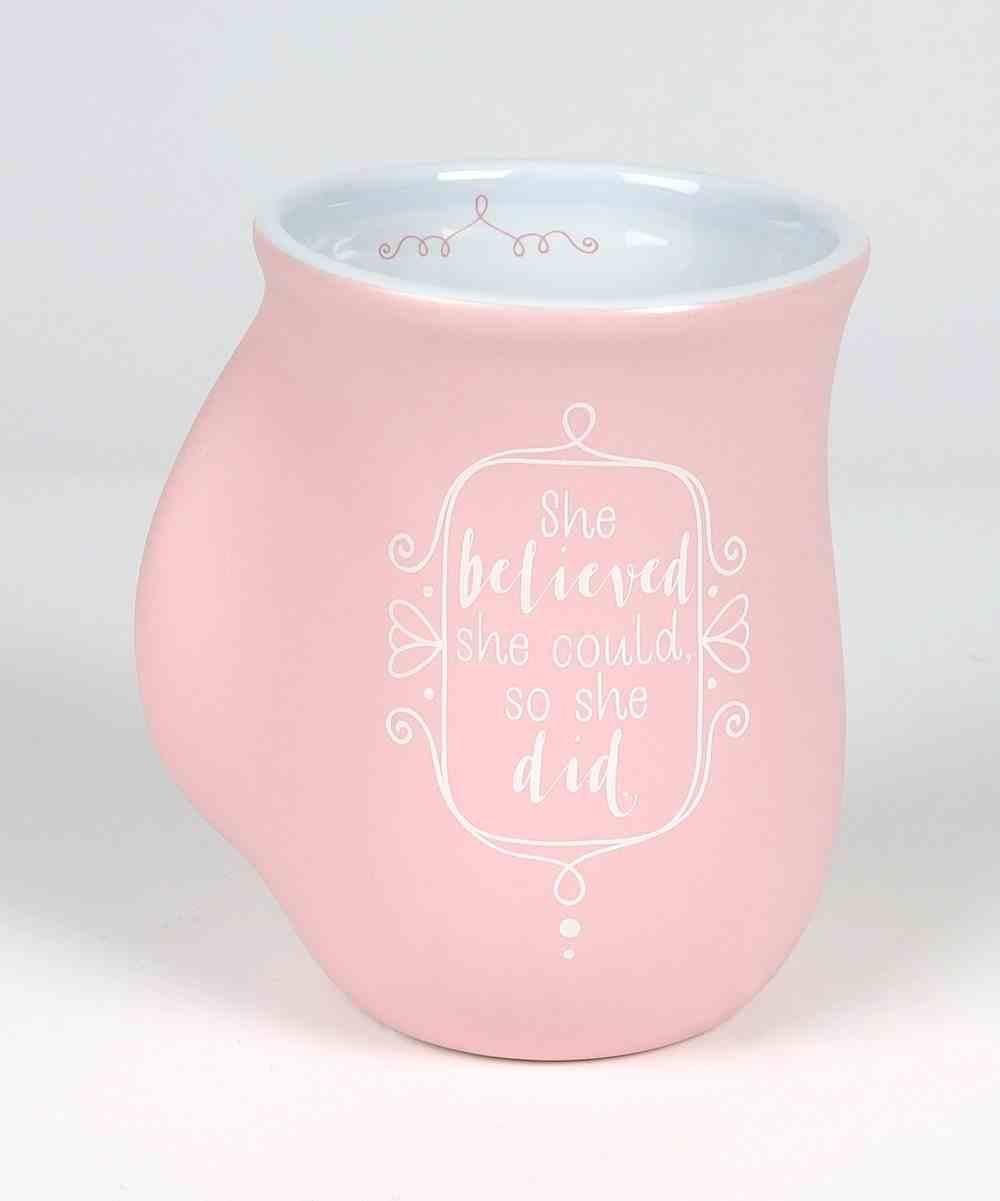 Ceramic Handwarmer Mug: Affirmed She Believe, Light Pink/White (Phil 4:13) Homeware