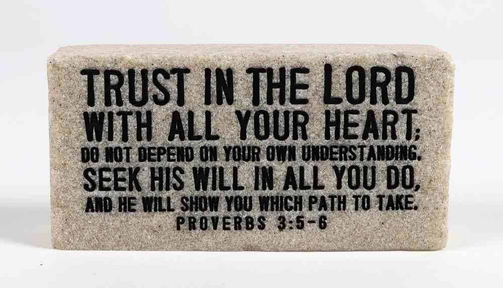 Stone Scripture Block: Trust Engraved (Prov 3:5-6) Homeware