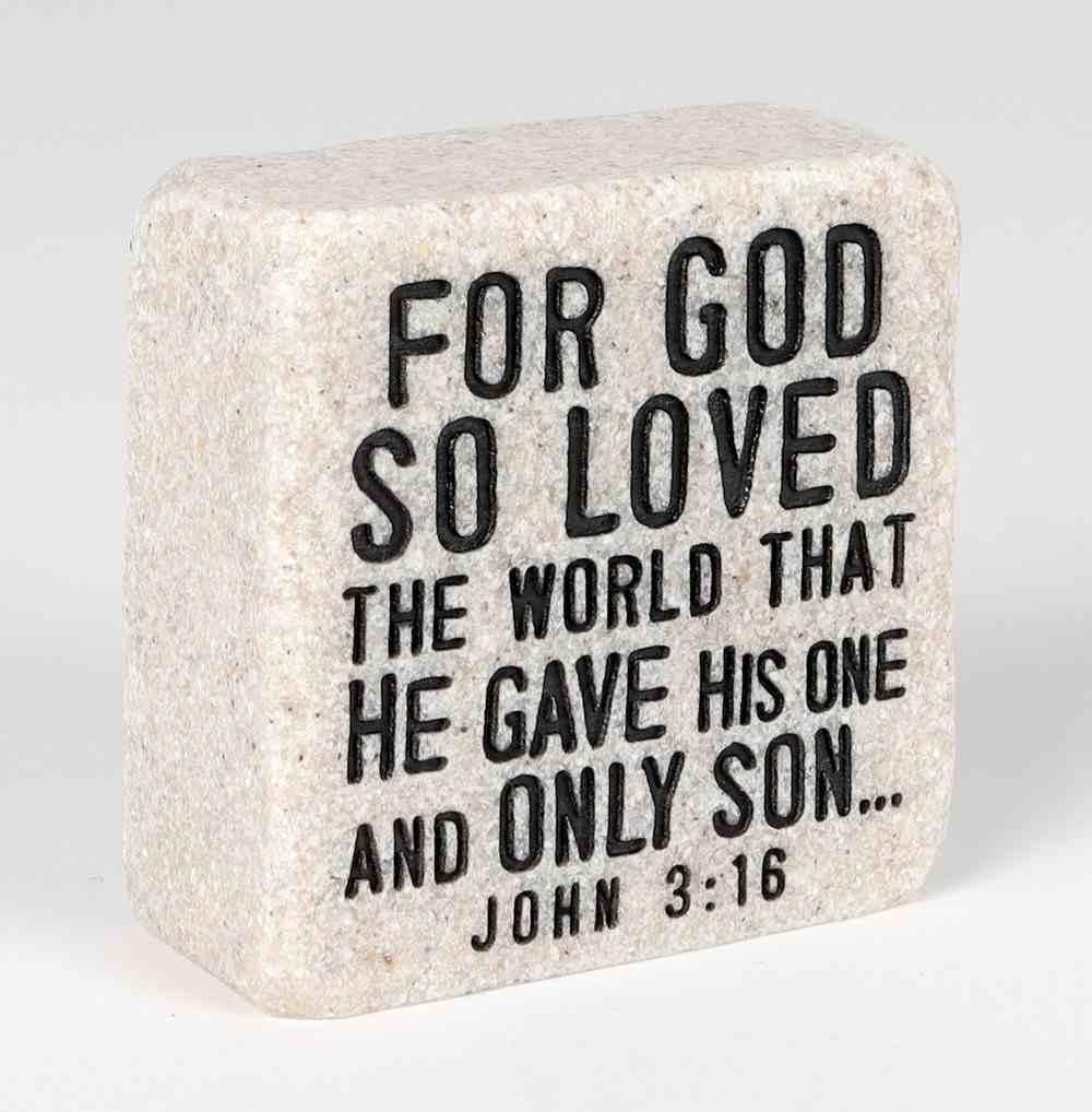 Stone Scripture Block: God's Love Engraved, Square (John 3:16) Homeware
