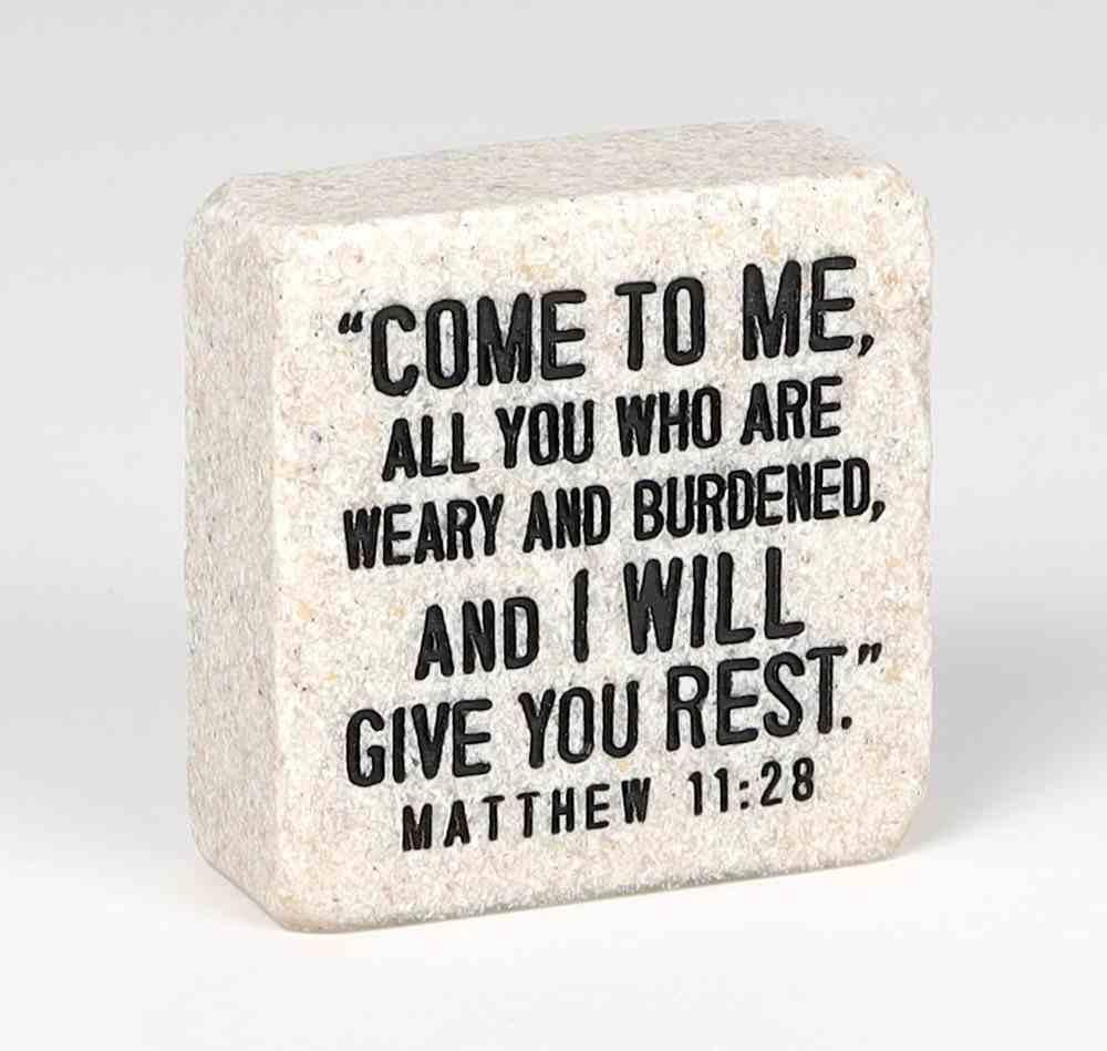Stone Scripture Block: Come to Me Engraved, Square (Matt 11:28) Homeware