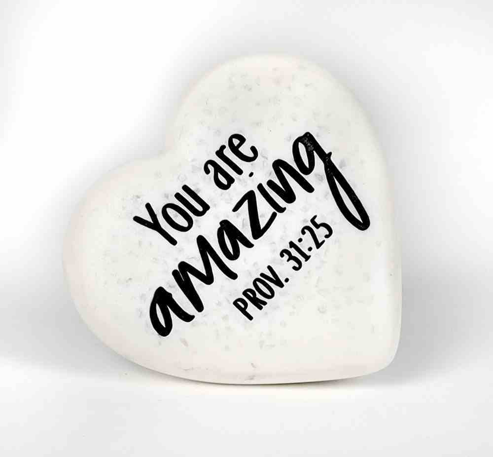 Stone Heart Plaque: You Are Amazing Engraved (Prov 31:25) Homeware
