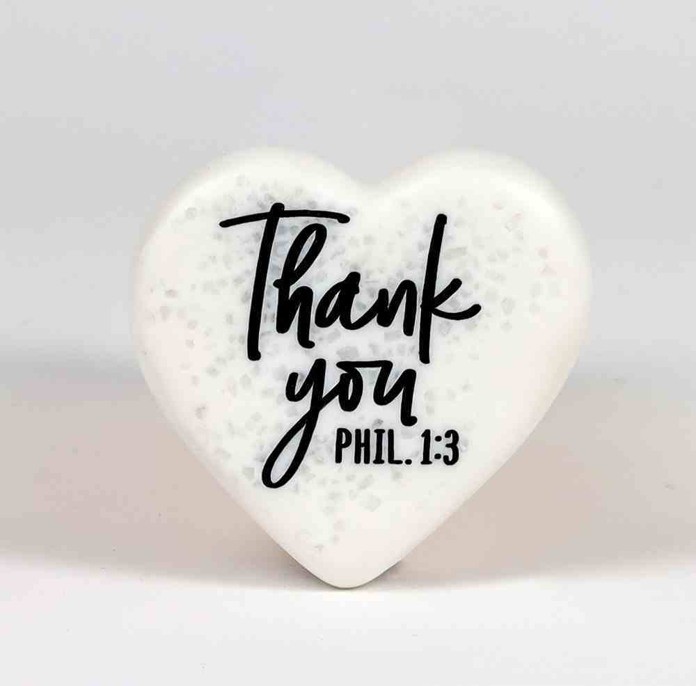 Stone Heart Plaque: Thank You Engraved (Phil 1:3) Homeware