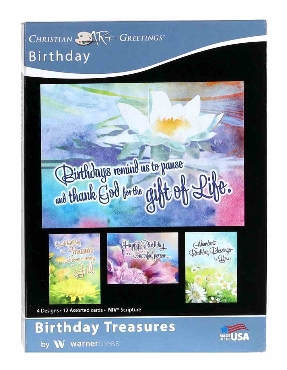 Boxed Cards: Birthday Treasures Floral Water Colours (Niv) Box