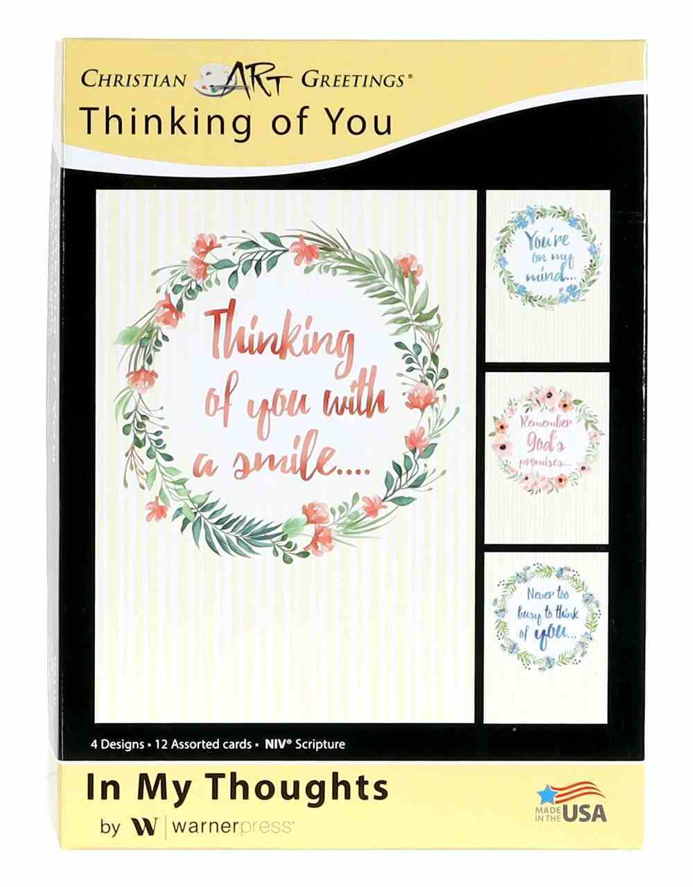 Boxed Cards: Thinking of You - in My Thoughts Floral Wreaths (Niv) Box