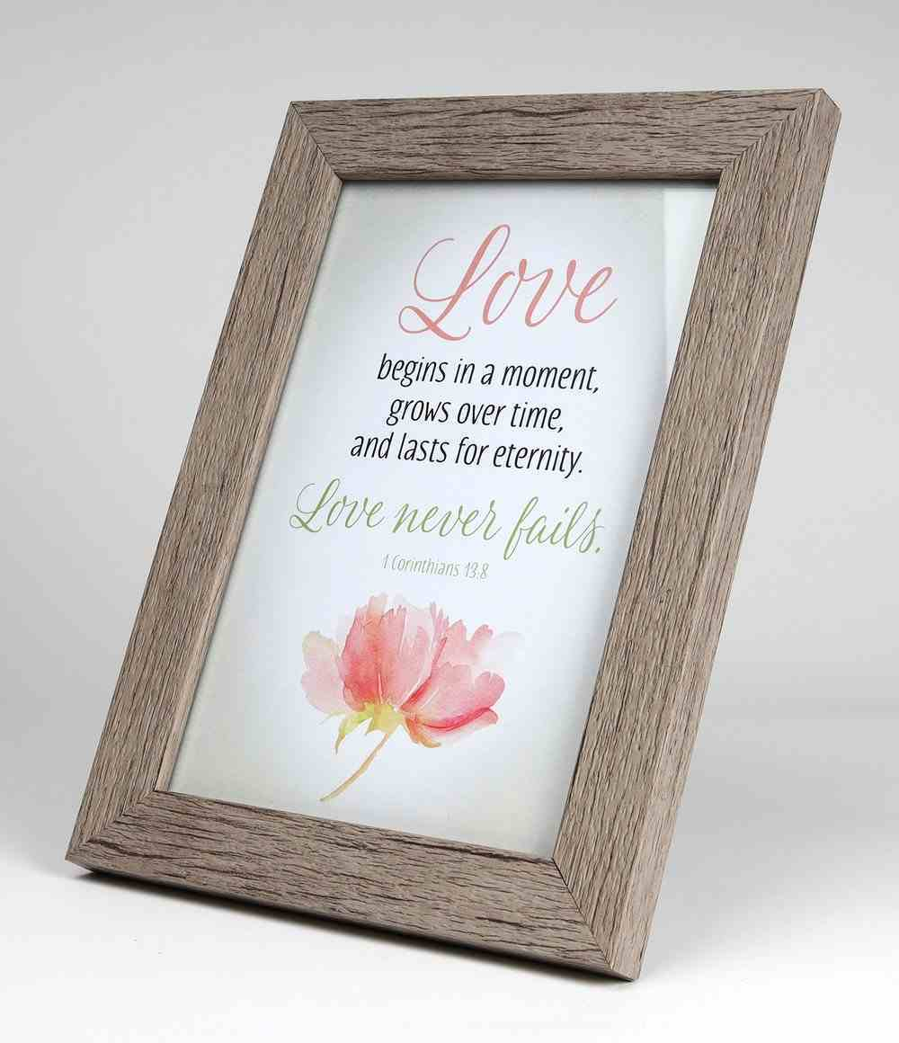 Framed Art With Easel: Love Never Fails (1 Cor 13:8) (Lasting Impressions Series) Plaque