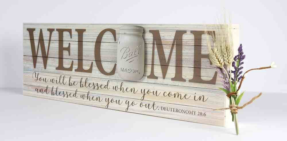 Mason Jar Word Box: Welcome (Deut. 28:6) Plaque