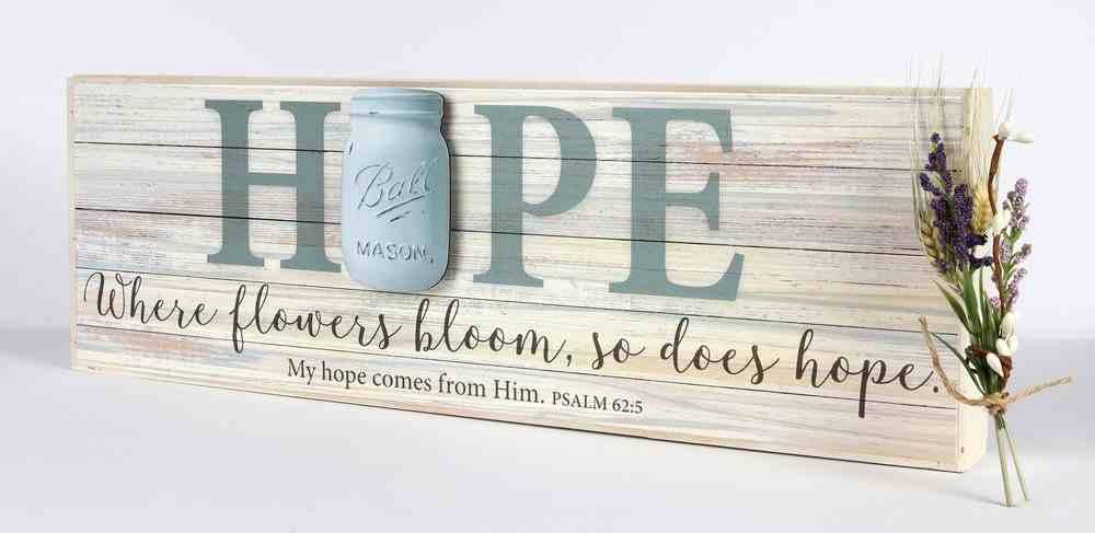 Mason Jar Word Box: Hope (Psalm 62:5) Plaque